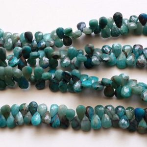 Shop Chrysocolla Bead Shapes! 6×8.5mm – 7x11mm Chrysocolla Faceted Pear Beads, Chrysocolla Beads, Faceted Pear Briolette Beads for Jewelry (4IN To 8IN Options) – AAG48 | Natural genuine other-shape Chrysocolla beads for beading and jewelry making.  #jewelry #beads #beadedjewelry #diyjewelry #jewelrymaking #beadstore #beading #affiliate #ad
