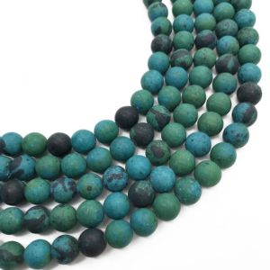 Shop Chrysocolla Beads! 8mm Matte Chrysocolla Beads, Round Gemstone Beads, Wholesale Beads | Natural genuine beads Chrysocolla beads for beading and jewelry making.  #jewelry #beads #beadedjewelry #diyjewelry #jewelrymaking #beadstore #beading #affiliate #ad