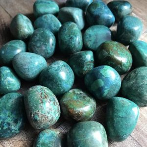 Shop Tumbled Chrysocolla Crystals & Pocket Stones! Chrysocolla Crystals | Natural genuine stones & crystals in various shapes & sizes. Buy raw cut, tumbled, or polished gemstones for making jewelry or crystal healing energy vibration raising reiki stones. #crystals #gemstones #crystalhealing #crystalsandgemstones #energyhealing #affiliate #ad