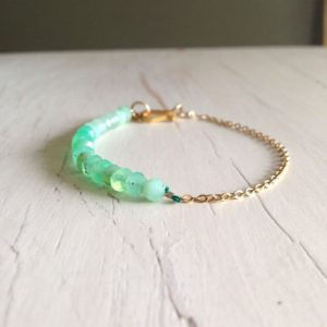 Chrysoprase Bracelet Faceted 14k Gold Filled Gemstone Bracelet | Natural genuine Chrysoprase bracelets. Buy crystal jewelry, handmade handcrafted artisan jewelry for women.  Unique handmade gift ideas. #jewelry #beadedbracelets #beadedjewelry #gift #shopping #handmadejewelry #fashion #style #product #bracelets #affiliate #ad