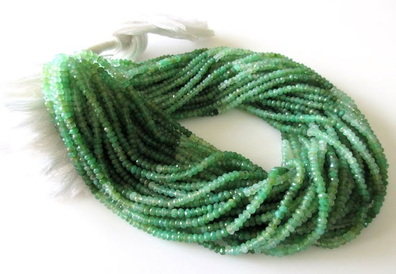 Chrysoprase Rondelle Beads, 3mm/4mm Faceted Chrysoprase Beads, , Green Shaded Chrysoprase Beads, Chrysoprase Stone, 13 Inch Strand, Gds1065