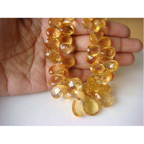 7x9 -15x10mm Approx Citrine Faceted Pear Shaped Briolettes, Citrine Faceted Beads For Jewelry, Yellow Citrine Pear (4in To 8in Options)