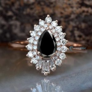 Vintage black diamond ring-Promise ring-Art deco ring-Gatsby ring-Black diamond ring rose gold-Solid gold ring-Branch ring-Edwardian ring | Natural genuine Gemstone rings, simple unique handcrafted gemstone rings. #rings #jewelry #shopping #gift #handmade #fashion #style #affiliate #ad