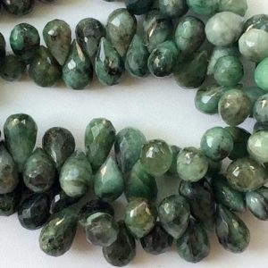 6x12mm – 6x9mm Emerald Drops, Green Emerald Faceted Tear Drops, Original Emerald For Jewelry (4IN To 8IN Options) – GODA2048 | Natural genuine other-shape Emerald beads for beading and jewelry making.  #jewelry #beads #beadedjewelry #diyjewelry #jewelrymaking #beadstore #beading #affiliate #ad