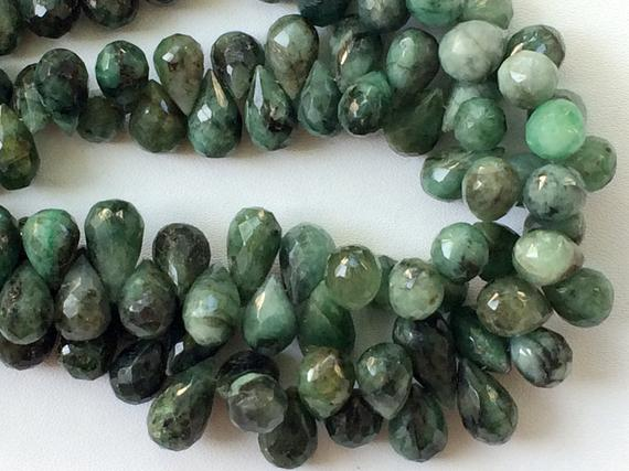 6x12mm - 6x9mm Emerald Drops, Green Emerald Faceted Tear Drops, Original Emerald For Jewelry (4in To 8in Options) - Goda2048