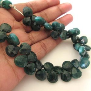 Shop Emerald Bead Shapes! Green Corundum/Emerald Heart Shape Briolette Beads, Emerald Faceted Heart Beads, 9mm to 10mm Emerald Heart Beads, Emerald Stone, GDS1161 | Natural genuine other-shape Emerald beads for beading and jewelry making.  #jewelry #beads #beadedjewelry #diyjewelry #jewelrymaking #beadstore #beading #affiliate #ad