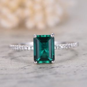 Shop Emerald Engagement Rings! 14K White Gold 6x8mm Emerald Engagement Ring,May Birthstone Emerald Ring,Deco Bridal Ring,Half Eternity Diamond Band,Unique Promise Ring | Natural genuine Emerald rings, simple unique alternative gemstone engagement rings. #rings #jewelry #bridal #wedding #jewelryaccessories #engagementrings #weddingideas #affiliate #ad
