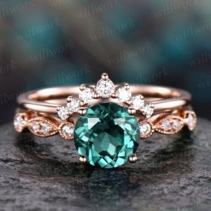 Shop Emerald Engagement Rings! Emerald engagement ring set rose gold emerald ring vintage marquise diamond ring crown 2pc matching stacking wedding promise bridal ring set | Natural genuine Emerald rings, simple unique alternative gemstone engagement rings. #rings #jewelry #bridal #wedding #jewelryaccessories #engagementrings #weddingideas #affiliate #ad