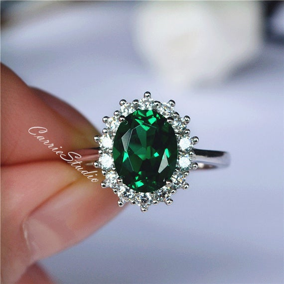 Free Express Shipping! 7*9mm Oval Emerald Ring/ Halo Green Emerald Ring/ May Birthstone Ring