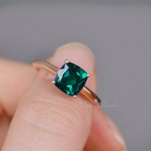 Shop Emerald Engagement Rings! Cushion Emerald Ring Solid 14K Gold Emerald Engagement Ring Wedding Ring Promise Ring Anniversary Ring | Natural genuine Emerald rings, simple unique alternative gemstone engagement rings. #rings #jewelry #bridal #wedding #jewelryaccessories #engagementrings #weddingideas #affiliate #ad