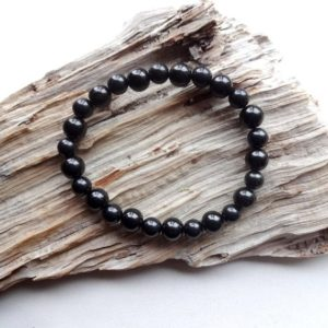 Shungite and Black Jet Stone bracelet / office style bracelet EMF protection gift | Natural genuine Array bracelets. Buy crystal jewelry, handmade handcrafted artisan jewelry for women.  Unique handmade gift ideas. #jewelry #beadedbracelets #beadedjewelry #gift #shopping #handmadejewelry #fashion #style #product #bracelets #affiliate #ad