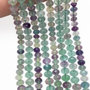 Shop Fluorite Faceted Beads! Faceted Natural Rainbow Fluorite Rondelle Beads, Rondelle Stone Beads, Gemstone Beads | Natural genuine faceted Fluorite beads for beading and jewelry making.  #jewelry #beads #beadedjewelry #diyjewelry #jewelrymaking #beadstore #beading #affiliate #ad