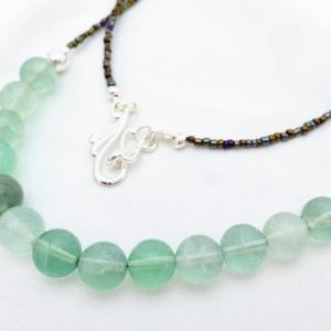 Shop Fluorite Necklaces! Simple Seaglass Green Fluorite Necklace, Minimalist Jewelry. Large Gemstones In Green, Blue, Teal, Aqua. Long Length, Geat For Layering. | Natural genuine Fluorite necklaces. Buy crystal jewelry, handmade handcrafted artisan jewelry for women.  Unique handmade gift ideas. #jewelry #beadednecklaces #beadedjewelry #gift #shopping #handmadejewelry #fashion #style #product #necklaces #affiliate #ad