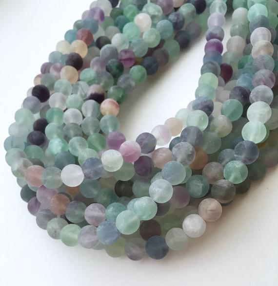 Fluorite Beads, Matte Beads, 8mm Beads, Multicolor Beads Rainbow Fluorite Gemstone Beads Colorful Beads Green Beads, Frosted Beads, Fluorite