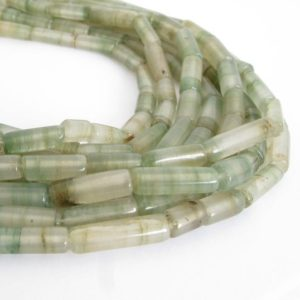 Fluorite Tube Beads, Green and White Fluorite Beads, 14 Inch Strand, Natural Gemstone Beads, Fluorite Beads, Fluo205 | Natural genuine other-shape Gemstone beads for beading and jewelry making.  #jewelry #beads #beadedjewelry #diyjewelry #jewelrymaking #beadstore #beading #affiliate #ad