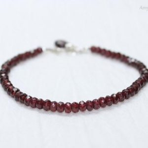 Garnet Bracelet, Sterling Silver, Wire Wrap Stone, Garnet Jewelry, January Birthstone, Red Gemstone Jewelry | Natural genuine Array jewelry. Buy crystal jewelry, handmade handcrafted artisan jewelry for women.  Unique handmade gift ideas. #jewelry #beadedjewelry #beadedjewelry #gift #shopping #handmadejewelry #fashion #style #product #jewelry #affiliate #ad