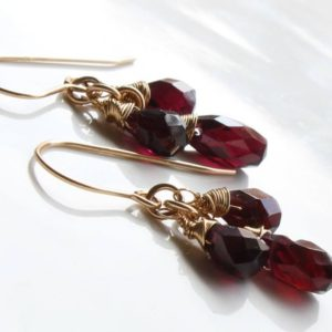 Shop Garnet Earrings! Garnet Gold Filled Earrings, Natural Deep Red Gemstone Cluster Dangle Drops, January Birthstone Gift For Mom Wife Sister Girlfriend 3239 | Natural genuine Garnet earrings. Buy crystal jewelry, handmade handcrafted artisan jewelry for women.  Unique handmade gift ideas. #jewelry #beadedearrings #beadedjewelry #gift #shopping #handmadejewelry #fashion #style #product #earrings #affiliate #ad
