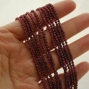"""Shop Garnet Faceted Beads! High Quality Grade A Natural Garnet Semi-Precious Gemstone FACETED Round Beads – approx 2mm – 15.5"""" strand 