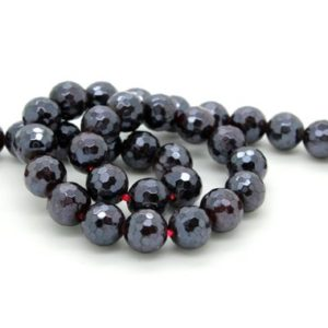 Shop Garnet Faceted Beads! Natural Faceted Garnet Round Sphere Gemstone Stone Loose Beads with Coating | Natural genuine faceted Garnet beads for beading and jewelry making.  #jewelry #beads #beadedjewelry #diyjewelry #jewelrymaking #beadstore #beading #affiliate #ad