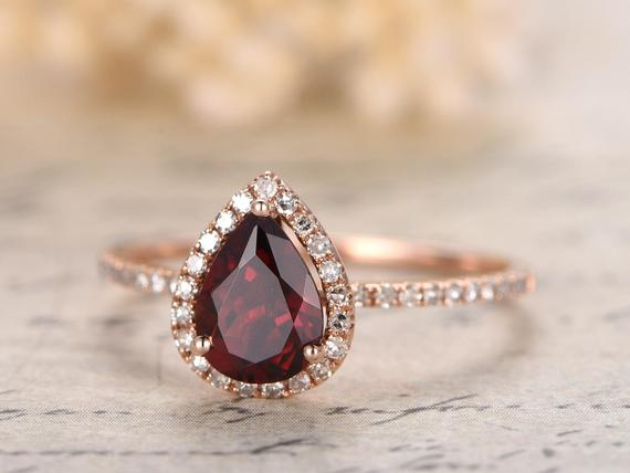 1ct Vs Natural Red Garnet Engagement Ring 14k Rose Gold Diamond Wedding Band 5x7mm Pear Shaped Garnet Ring Diamond Halo Bridal Ring