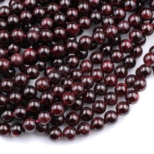 "Natural Red Garnet 4mm 6mm 8mm 10mm 12mm 13mm Round Beads Superior AA Grade 15.5"" Strand 