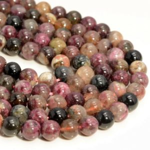 Shop Pink Tourmaline Beads! Genuine Chineese Tourmaline Gemstone 4mm 6mm 8mm Round Loose Beads Full Strand (A240) | Natural genuine beads Pink Tourmaline beads for beading and jewelry making.  #jewelry #beads #beadedjewelry #diyjewelry #jewelrymaking #beadstore #beading #affiliate #ad