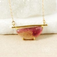 Gold Yellow & Pink Tourmaline Necklace, Bar Necklace, Horizontal Pendant | Natural genuine Gemstone jewelry. Buy crystal jewelry, handmade handcrafted artisan jewelry for women.  Unique handmade gift ideas. #jewelry #beadedjewelry #beadedjewelry #gift #shopping #handmadejewelry #fashion #style #product #jewelry #affiliate #ad