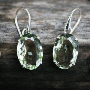 Shop Green Amethyst Earrings! Stunning Prasiolite Dangle Earrings, Green Amethyst, Green Quartz stunning Prasiolite earrings – Green Quartz – Green Amethyst Dangles | Natural genuine Green Amethyst earrings. Buy crystal jewelry, handmade handcrafted artisan jewelry for women.  Unique handmade gift ideas. #jewelry #beadedearrings #beadedjewelry #gift #shopping #handmadejewelry #fashion #style #product #earrings #affiliate #ad