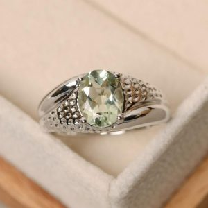 Shop Green Amethyst Rings! Green amethyst ring, oval cut ring, green amethyst, green crystal gemstone | Natural genuine Green Amethyst rings, simple unique handcrafted gemstone rings. #rings #jewelry #shopping #gift #handmade #fashion #style #affiliate #ad