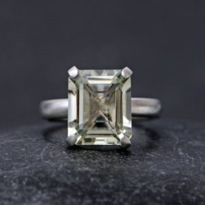 Shop Green Amethyst Rings! Green Amethyst Statement Ring – Large Green Amethyst Cocktail Ring Emerald Cut | Natural genuine Green Amethyst rings, simple unique handcrafted gemstone rings. #rings #jewelry #shopping #gift #handmade #fashion #style #affiliate #ad