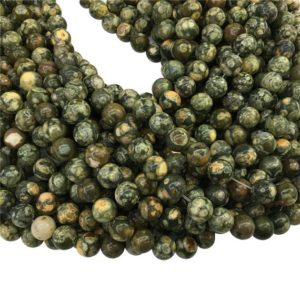 Shop Rainforest Jasper Beads! Green Rainforest Jasper Round Beads, 6mm 8mm 10mm 12mm Gemstone Beads Approx 15.5 Inch Strand | Natural genuine round Rainforest Jasper beads for beading and jewelry making.  #jewelry #beads #beadedjewelry #diyjewelry #jewelrymaking #beadstore #beading #affiliate #ad