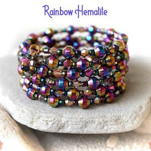 Shop Hematite Bracelets! Rainbow Hematite Bracelet, Hematite Cuff Bracelet, Wrapped Cuff, Hematite Wrap Bracelet, Multistrand Bracelet, Aurora Borealis Bracelet | Natural genuine Hematite bracelets. Buy crystal jewelry, handmade handcrafted artisan jewelry for women.  Unique handmade gift ideas. #jewelry #beadedbracelets #beadedjewelry #gift #shopping #handmadejewelry #fashion #style #product #bracelets #affiliate #ad