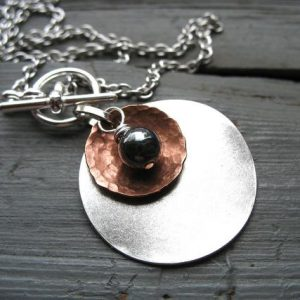 Shop Hematite Necklaces! Hematite Stone Metalwork Necklace, Hematite Stone Dome Oxidized Hammered Copper Silver Disk Chain Necklace, Handmade Jewelry | Natural genuine Hematite necklaces. Buy crystal jewelry, handmade handcrafted artisan jewelry for women.  Unique handmade gift ideas. #jewelry #beadednecklaces #beadedjewelry #gift #shopping #handmadejewelry #fashion #style #product #necklaces #affiliate #ad
