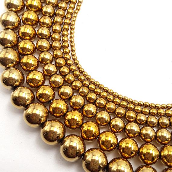"Gold Hematite Smooth Round Beads 2mm 3mm 4mm 6mm 8mm 10mm 12mm 15.5"" Strand"