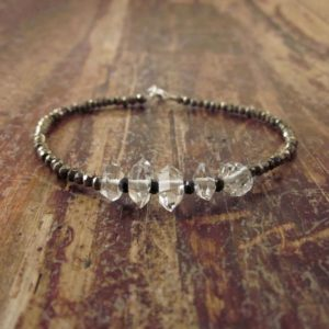 Shop Herkimer Diamond Bracelets! Herkimer Diamond Bracelet Herkimer Diamond Bracelets Beaded Bracelets Womens Wife Gift Quartz Bracelet Beaded Bracelet Black Spinel Pyrite | Natural genuine Herkimer Diamond bracelets. Buy crystal jewelry, handmade handcrafted artisan jewelry for women.  Unique handmade gift ideas. #jewelry #beadedbracelets #beadedjewelry #gift #shopping #handmadejewelry #fashion #style #product #bracelets #affiliate #ad
