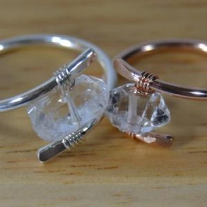Shop Herkimer Diamond Rings! Solitaire Herkimer Diamond Ring // Horizontal Herkimer Stone // Sterling Silver, Rose Gold Fill, Gold Fill // Boho Ring // Minimalist Ring | Natural genuine Herkimer Diamond rings, simple unique handcrafted gemstone rings. #rings #jewelry #shopping #gift #handmade #fashion #style #affiliate #ad