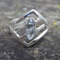 Sterling Silver Natural Herkimer Diamond 925 Ring Size 9 – Double-terminated Quartz Crystal Ring – Natural Stone Ring Size 9 – Diamond Ring | Natural genuine Gemstone jewelry. Buy crystal jewelry, handmade handcrafted artisan jewelry for women.  Unique handmade gift ideas. #jewelry #beadedjewelry #beadedjewelry #gift #shopping #handmadejewelry #fashion #style #product #jewelry #affiliate #ad
