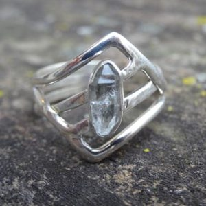 Shop Herkimer Diamond Rings! Sterling Silver Natural Herkimer Diamond 925 Ring Size 9 – double-terminated quartz crystal ring – Natural Stone Ring size 9 – Diamond ring | Natural genuine Herkimer Diamond rings, simple unique handcrafted gemstone rings. #rings #jewelry #shopping #gift #handmade #fashion #style #affiliate #ad