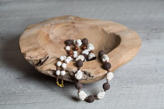 Howlite And Lava Long Beaded Necklace, Raw Beige Howlite And Brown Big Lava, Handcrafted Unique Gift For Her, Healing Bead Necklace For Wife