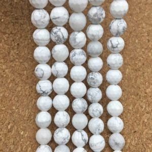 Shop Howlite Faceted Beads! 8mm Faceted White Howlite Beads, Gemstone Beads, Wholasela Beads | Natural genuine faceted Howlite beads for beading and jewelry making.  #jewelry #beads #beadedjewelry #diyjewelry #jewelrymaking #beadstore #beading #affiliate #ad