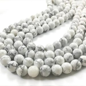 Shop Howlite Round Beads! 10mm White Howlite Beads,  White Stone Beads, Round Gemstone Beads | Natural genuine round Howlite beads for beading and jewelry making.  #jewelry #beads #beadedjewelry #diyjewelry #jewelrymaking #beadstore #beading #affiliate #ad