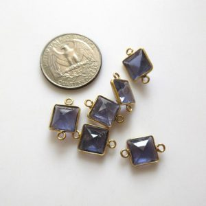 Shop Iolite Faceted Beads! 6 Pieces 10mm Natural Iolite Faceted Princess 925 Silver Bezel Gemstone Connector Charm, Single/Double Loop Natural Iolite Charm, GDS1667 | Natural genuine faceted Iolite beads for beading and jewelry making.  #jewelry #beads #beadedjewelry #diyjewelry #jewelrymaking #beadstore #beading #affiliate #ad