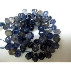 Shop Iolite Bead Shapes! Iolite Briolette – Iolite Tear Drop Beads – 6x8mm To 7x10mm – Micro Faceted Briolettes – 35 Pieces – 5 | Natural genuine other-shape Iolite beads for beading and jewelry making.  #jewelry #beads #beadedjewelry #diyjewelry #jewelrymaking #beadstore #beading #affiliate #ad