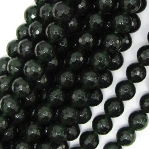 "Shop Jade Faceted Beads! 8mm Faceted Canada Green Jade Round Beads 15.5"" Strand 10944 