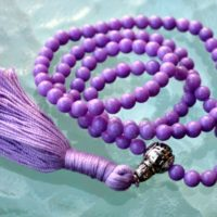 6 Mm Purple Jade Prayer Beads Japa Mala Necklace – Buddhist Karma 108+1 Beads -energized Rosary For Nirvana Meditation Awakening Chakras | Natural genuine Gemstone jewelry. Buy crystal jewelry, handmade handcrafted artisan jewelry for women.  Unique handmade gift ideas. #jewelry #beadedjewelry #beadedjewelry #gift #shopping #handmadejewelry #fashion #style #product #jewelry #affiliate #ad