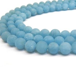 Shop Jade Beads! Blue Jade, Matte Beads, 8mm Beads, Jade Beads, Frosted Beads, Light Blue Beads, Matte Jade, Sky Blue Beads, 10mm Beads, Jade Gemstone | Natural genuine beads Jade beads for beading and jewelry making.  #jewelry #beads #beadedjewelry #diyjewelry #jewelrymaking #beadstore #beading #affiliate #ad