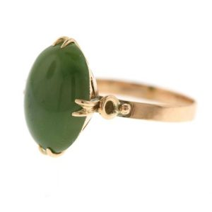 Vintage Jade Ring, Rose Gold Jade Engagement Ring, Nephrite Green Jade Ring | Natural genuine Gemstone rings, simple unique alternative gemstone engagement rings. #rings #jewelry #bridal #wedding #jewelryaccessories #engagementrings #weddingideas #affiliate #ad