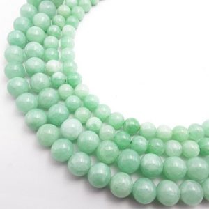 "Shop Jade Round Beads! Cloudy Emerald Green Dyed Jade Smooth Round Beads 6mm 8mm 10mm 15.5"" Strand 