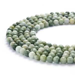 "Shop Jade Beads! Natural Light Green Jade Smooth Round Beads 4mm 6mm 8mm 10mm 15.5"" Strand 