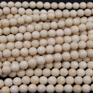 "Shop Jasper Beads! Neutral Creamy Beige White Natural Fossil Jasper River Stone Faceted 4mm 6mm 8mm 10mm Round Beads 16"" Strand 